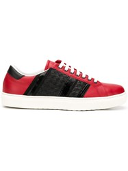 Bottega Veneta Panelled Lace Up Sneakers Red