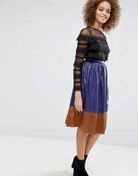 Sister Jane Colour Block Midi Skirt Purple Beige
