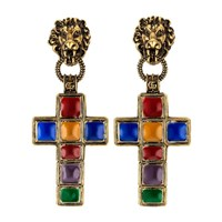 Gucci Earrings With Cross Pendant And Lion Multicolor Enamel