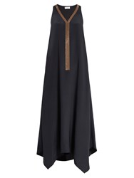 Brunello Cucinelli Monili Embellished Silk Dress Charcoal