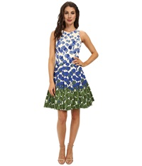 Maggy London Vintage Flower Border Cotton Sateen Fit Flare Dress Cream Periwinkle Women's Dress Blue