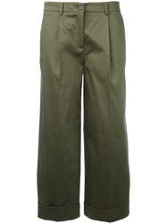 P.A.R.O.S.H. Straight Cropped Trousers Green