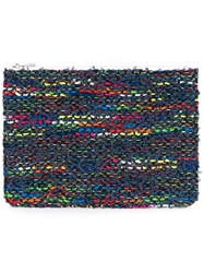 Coohem Knit Tweed Pouch Calf Leather Polyester Cotton Rayon Blue