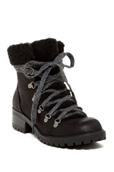 Madden Girl Bunt Faux Fur Cuff Lace Up Boot Black