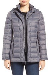 Michael Michael Kors Women's Quilted Down Jacket Slate Grey
