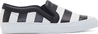 Givenchy Black And White Striped Slip On Sneakers