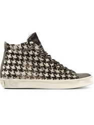 Leather Crown Houndstooth Hi Top Sneakers Grey