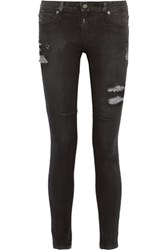 Rta Low Rise Coated Distressed Skinny Jeans Charcoal