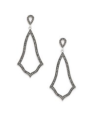 Azaara Vintage Black Diamond Swarovski Crystal Silverplated Carillon Drop Earrings