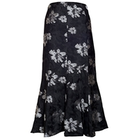 Chesca Floral Printed Skirt Black Silver