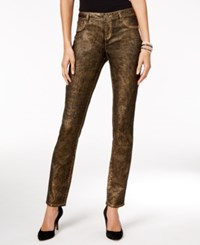 Inc International Concepts Metallic Curvy Fit Skinny Jeans Only At Macy's Gold