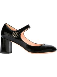 Rochas Chunky Heel Mary Jane Pumps Black