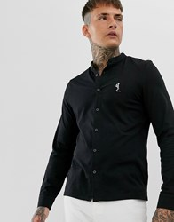 Religion Slim Fit Jersey Shirt With Grandad Collar In Black