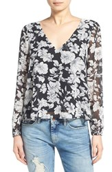 Women's Lucca Couture Cross Back Floral Print Blouse Black