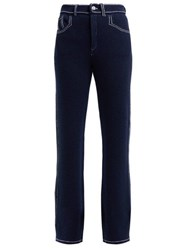 Barrie Denim Suit Straight Leg Cashmere Trousers Navy White