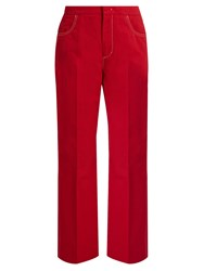 N 21 High Rise Straight Leg Cotton Blend Trousers Red