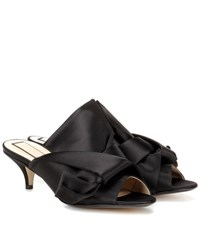 N 21 Satin Kitten Heel Mules Black