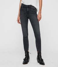 Allsaints Roxanne Cropped Ankle High Rise Skinny Jean Washed Black