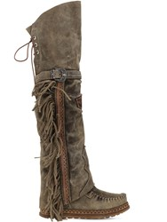 El Vaquero 70Mm Coleen Suede Over The Knee Boots Olive Green