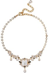 Dolce And Gabbana Gold Tone Crystal Necklace One Size