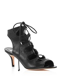 Delman Leather Caged Lace Up Mid Heel Sandals Black