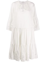 Closed Flared Mid Length Dress White