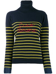 Giada Benincasa Striped Logo Jumper Blue