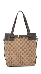 Wgaca Gucci Buckle Tote Previously Owned Brown