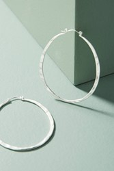 Anthropologie Hammered Pineapple Hoop Earrings Silver