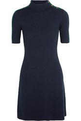 Tory Burch Sardy Ribbed Merino Wool Mini Dress Navy