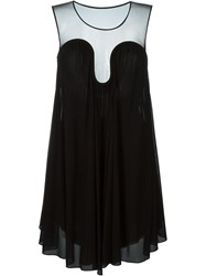 Jay Ahr Flared Sheer Panel Dress Black