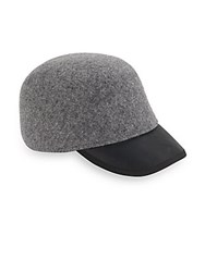Genie By Eugenia Kim Alex Heathered Wool And Leather Cap Heather Grey