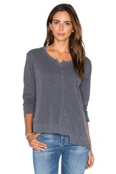 Wilt Placket Slouchy Shifted Long Sleeve Top Gray
