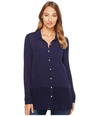 Mod O Doc Gauze Button Front Shirt With Lace Trim True Navy Women's Clothing