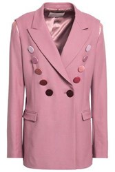 Marco De Vincenzo Woman Double Breasted Button Embellished Wool Blend Twill Blazer Lavender