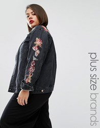 Alice And You Embroidered Denim Jacket Black