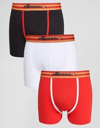Ellesse 3 Pack Striped Waist Trunks Black