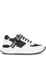 Burberry Logo Detail Leather And Nylon Sneakers Black