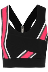 No Ka' Oi Ka'oi Kanawi Hele Striped Stretch Sports Bra Black