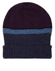 Inis Meain Men's Striped Merino Wool Beanie Purple