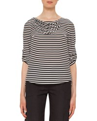 Akris Punto Striped Wave Pleated 3 4 Sleeve Blouse Black White