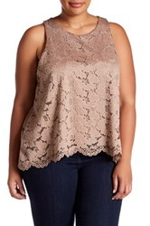 14Th And Union Lace Swing Tank Plus Size Brown