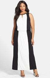 Plus Size Women's London Times Embellished Colorblock Halter Maxi Dress