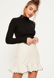 Missguided Cream Faux Leather Stud Frill Hem Mini Skirt Taupe