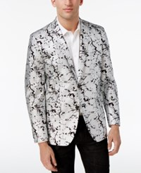 Inc International Concepts Men's Slim Fit Silver Foil Blazer Only At Macy's Silver Combo