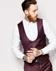 Noose And Monkey Double Breasted Waistcoat In Skinny Fit Burgundy
