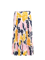 Cedric Charlier Palm Leaf Print Pleated Midi Skirt