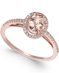 Macy's Morganite 3 4 Ct. T.W. And Diamond 1 5 Ct. T.W. Ring In 14K Rose Gold