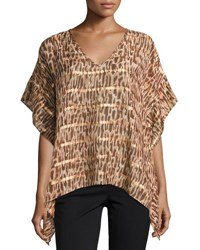 Alice And Trixie Fiona Animal Print Silk Blend Blouse Brown Pattern