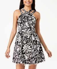 Emerald Sundae Juniors' Double Strap Fit And Flare Dress Black White
